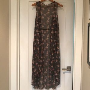 David & Young sleeveless duster M/L taupe floral
